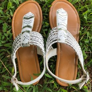 Other - Brown sandals with white straps and jewels